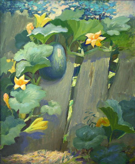 On the vegetable garden - rural landscape painting. Oil on ...